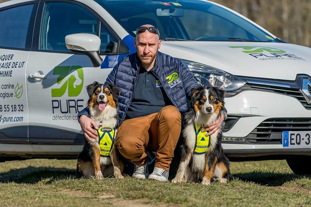 Matthieu et ses 2 chiens spécialement dressés pour détecdter les punaises de lit
